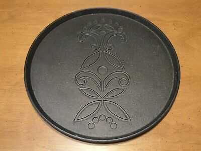 """IKEA Cast Iron Charger Plate Tray Round Black Floral Design 10 1/4"""" Across"""