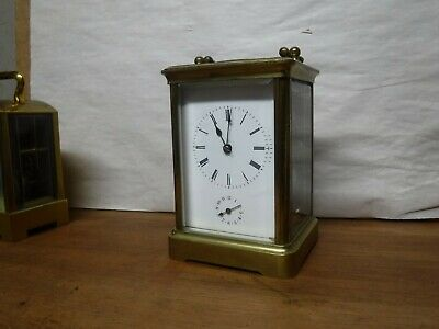 Fine Antique French Brass Lantern / Carriage 8Day Chime Clock With Alarm Working