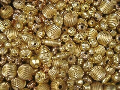 Metal Beads Asst Shapes 50g Golds Spacer DIY Jewellery Jewelry FREE POSTAGE