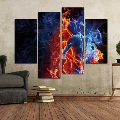 Body Flame Abstract Colorful Art Canvas Poster Living Room Bedroom Painting