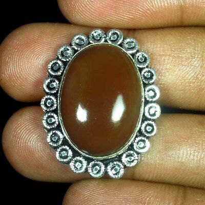 54.30 Ct Natural Onyx Agate Geode Oval Silver Plated Ring 8 Us Cabochon