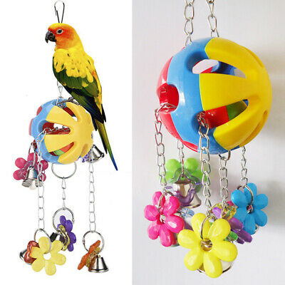 Pet Bird Bites Parrot Chew Ball Toys Swing Cage Hanging Cockatiel Parakeet