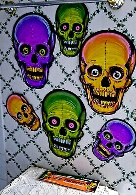 New Repros-1973-Beistle Vintage Designs Halloween Nite-Glo Skull Cutouts-6Total!