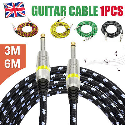 Jack Guitar Lead: Cable Bass/Electric/Acoustic/Instrument to Amp, Life Warranty