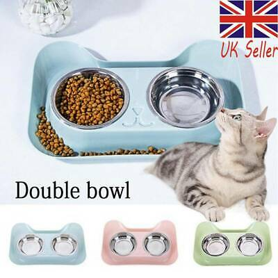 Double Dog Bowls Stainless Steel No Spill Non-Skid Feeder Bowls Pet Bowl Cats UK