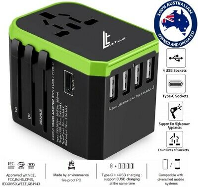 LE TILLAY World Travel Adapter-Universal Travel Adapter 5.6A (4 USB and Type C)