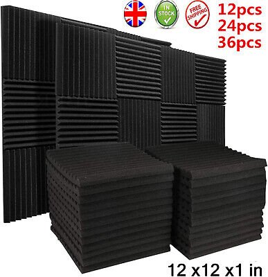 12/24/36 Acoustic Wall Panels Sound Proofing Foam Pads Studio Treatments Tool uk