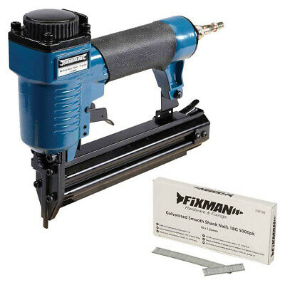 SILVERLINE AIR BRAD NAILER 32mm 18 GAUGE NAIL GUN + 5000 NAILS - 3 YEAR WARRANTY