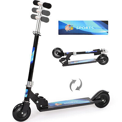 Kids Scooter 2 Wheel Kick Stunt Push Scooter Blue Folding Adjustable Child Gift