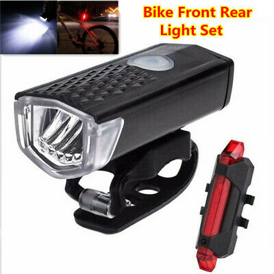 Bicycle Bike Front Rear Lights Set Rechargeable USB LED Mountain MTB Headlight
