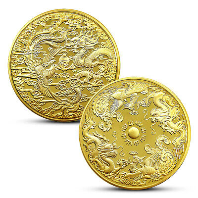 Dragon Phoenix Chengxiang Commemorative Coin Badge Gift Art Collections