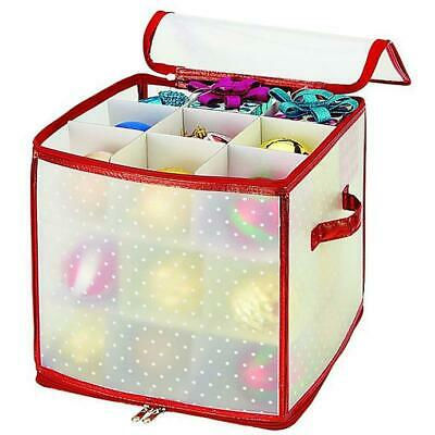 Christmas Tree Ornament Storage Box Xmas Baubles Bag Up to 27 Baubles, Red