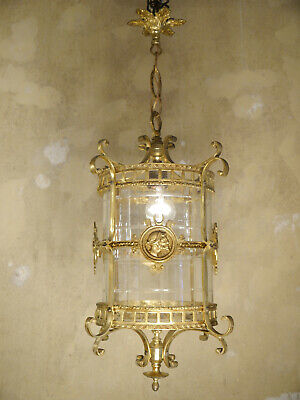 Hanging Lantern Gold Bronze Chandelier Lamp Foyer Brass Used Lustre Old