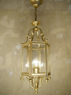 Hanging Lantern Gold Bronze Fine Mat Chandelier Lamp Foyer Brass Used Lustre Old
