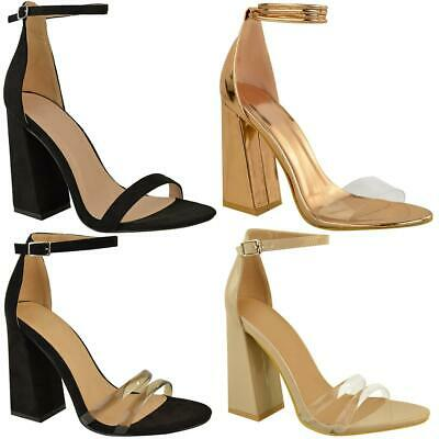Womens Ladies Block Heels Square Open Toe Barely There Strappy Sandals Shoe Size