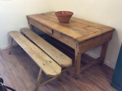 "C18th  2m 6'6"" Extending French Farmhouse Beechwood Kitchen Table"