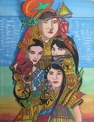 The Panama races symbolism mixed technique on paper painting artwork
