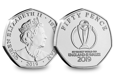 1 x 2019 The Official ICC Cricket World Cup Logo Emblem 50p Coin Isle Of Man Unc