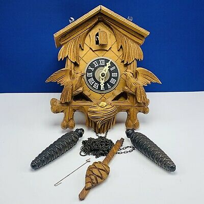 Black forest cuckoo clock Vtg Mcm Wood Germany W/ Weights wood wall decor