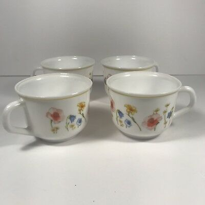 Set of 4 Arcopal France Floral Milk Glass Coffee Cups Mugs Victoria Pattern