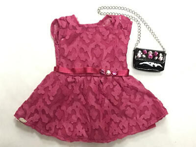 American Girl - Merry Magenta Lace Dress & Black Patent Leather Purse
