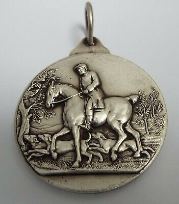 STUNNING LARGE ENGLISH ANTIQUE c.1900 SOLID STERLING SILVER HORSE HUNTING MEDAL