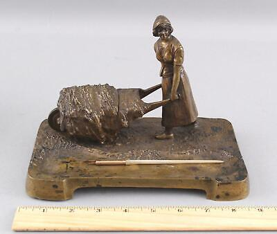 Antique Signed Figural Bronze Inkwell Pen Rest French Peasant Woman Wheelbarrow