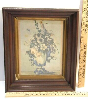 ANTIQUE VICTORIAN WALNUT WOOD & GILT SHADOWBOX PICTURE FRAME 10.5x12.5 7x9 INNER