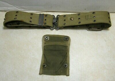 WW2 M1936 Khaki US Army Soldiers Officers Web Pistol Belt Dated 1943 5 ? + GG286