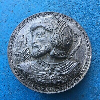 Large Pewter / Silver Tone Greek Soldier Hercules Medallion Round Coin Metal