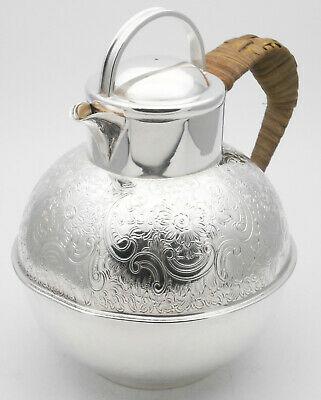 Vintage Garrard Guernsey Jug - Silver Plated - Chased - Wicker Handle