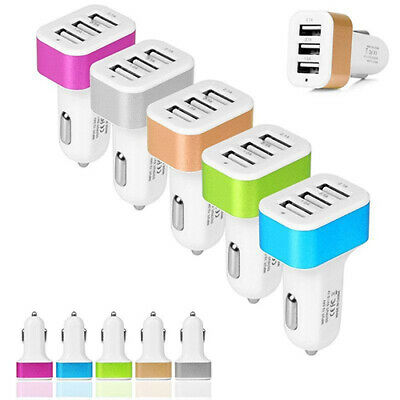 3-Port USB DC 12V 24V Fast Charging Cellphone Car Charger Adapter Light Weight
