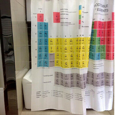 Periodic Table of the  Waterproof Shower Curtain 12 Hooks Bathroom Fabric