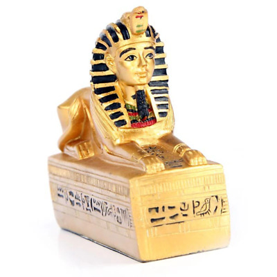 Golden Egyptian Sphinx On Hieroglyphic Base Decorative Ornament Gift Boxed