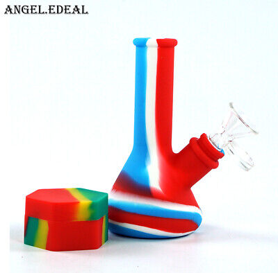 1x 5'' beaker silicone water Pipe Hookah Smoking Bong Shisha + Glass Bowl + box