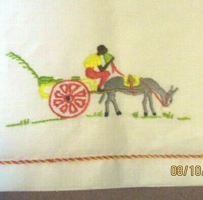 Vintage Soft White  Madeira Linen Small Hand Towel Colorful Embroidery Donkey