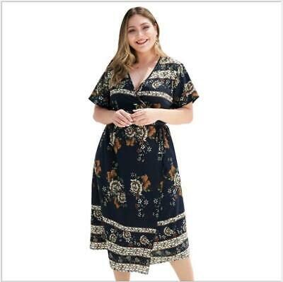Evening Party Summer Women's Plus Size Maxi Sundress Floral Dress Beach Cocktail