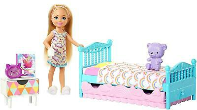 Barbie Club Chelsea Playset Doll Bedroom Play Set Gift Toy Teddy Bear Figure Bed