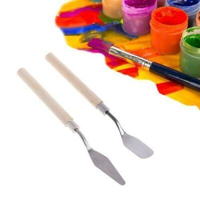 Stainless Steel Palette Knife Wooden Handle Painting Oil Mixing Spatula Tools AU