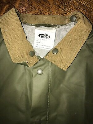 Vtg Weather-Rite Rain Jacket Coat Green Detachable Hood Zips and Snaps XL