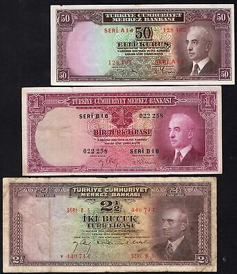 Turkey: Central Bank of Turkey. 3 notes. (1942-47). (Pick; 133, 135 & 140).