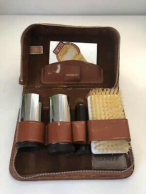 Vintage Two-Tix Gent's Travel Set Grooming Kit Brown Pigskin Leather Made In Eng