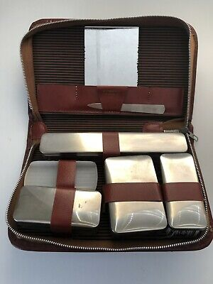 Vintage Toiletry Travel Kit Special Triple Cut Germany Brown Leather Mid Century