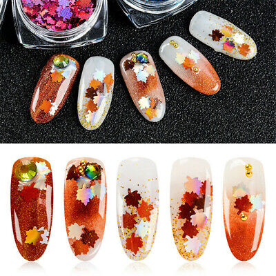 Christmas Nail Art Stickers Maple Leaf Manicure Decor Sequins Glitter Tips 1g