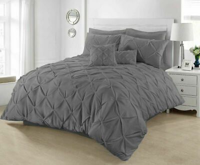 King Size Pintuck Duvet Cover 100% Cotton Quilt Bed Set Charcoal Grey Bedding