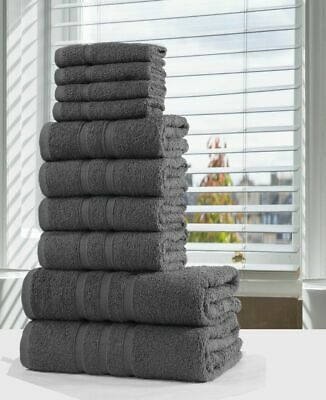 Luxury 100% Egyptian Cotton Towel Bale Set 10 Pc Bathroom Hand Face Towels Grey