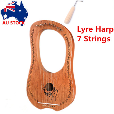 Lyre Harp 7 Strings Mahogany Wood String Instrument Perfect for Beginner Gift