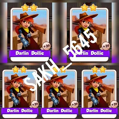 5 x Darlin' Dollie :- Cyber Cowboys card Set :- Coin Master ( Fastest Delivery )