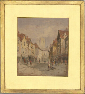 B.M - Late 19th Century Watercolour, Victorian Street Scene