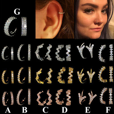 6mm 8mm CZ Nose Lip Ring Piercing Hoop Earring Helix Cartilage Tragus Daith NEW